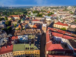 Stare miasto Lublin. Bram krakowska z lotu ptaka.