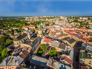Lublin - stare miasto widok z powietrza.