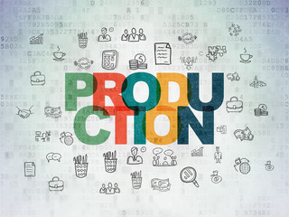 Finance concept: Production on Digital Data Paper background