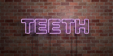 TEETH - fluorescent Neon tube Sign on brickwork - Front view - 3D rendered royalty free stock picture. Can be used for online banner ads and direct mailers..