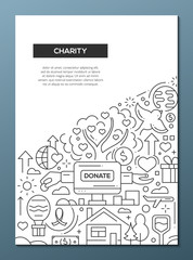Charity - line design brochure poster template A4