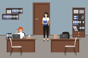Office room in a blue color. Two young women are employees at work. There is furniture in a brown color and white chairs in the picture. Vector flat illustration