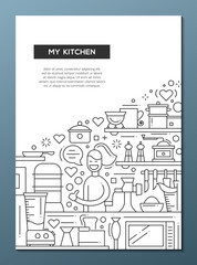 My Kitchen - line design brochure poster template A4