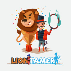 Lion tamer with big lion. character design - vector