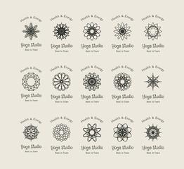Yoga Studio Vector Logo Templates Set
