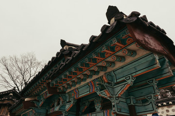Korean traditional house monocracy   It is one of the traditional villages in Seoul. The color of the eaves is so beautiful.