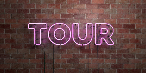 TOUR - fluorescent Neon tube Sign on brickwork - Front view - 3D rendered royalty free stock picture. Can be used for online banner ads and direct mailers.. Wall mural