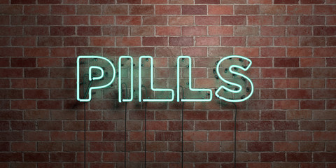 PILLS - fluorescent Neon tube Sign on brickwork - Front view - 3D rendered royalty free stock picture. Can be used for online banner ads and direct mailers..