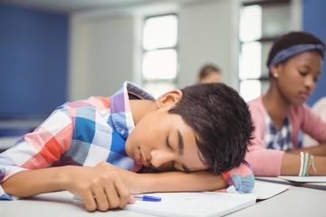Tired schoolboy sleeping in classroom