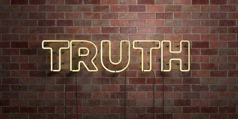 TRUTH - fluorescent Neon tube Sign on brickwork - Front view - 3D rendered royalty free stock picture. Can be used for online banner ads and direct mailers..