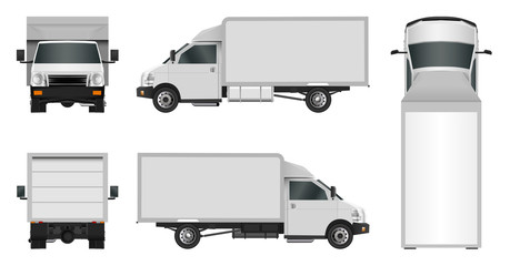 White truck template. Cargo van Vector illustration EPS 10 isolated on white background. City commercial vehicle delivery.