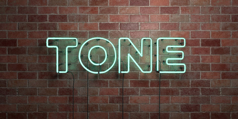 TONE - fluorescent Neon tube Sign on brickwork - Front view - 3D rendered royalty free stock picture. Can be used for online banner ads and direct mailers..