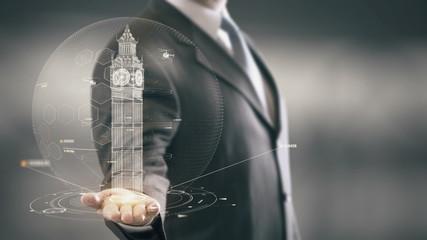 Big Ben London Businessman Holding in Hand Landmark New technologies