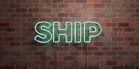 SHIP - fluorescent Neon tube Sign on brickwork - Front view - 3D rendered royalty free stock picture. Can be used for online banner ads and direct mailers..