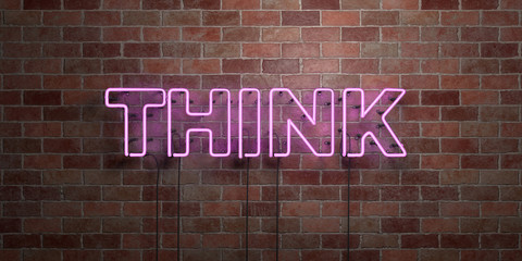 THINK - fluorescent Neon tube Sign on brickwork - Front view - 3D rendered royalty free stock picture. Can be used for online banner ads and direct mailers..