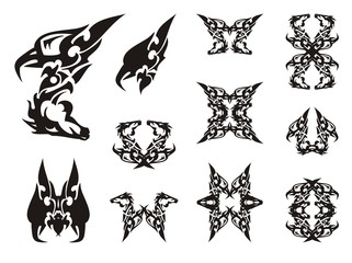 Tribal unusual eagle-horse symbols. Abstract eagle-horse symbol. Double imaginary animal symbols and frames in black and white options