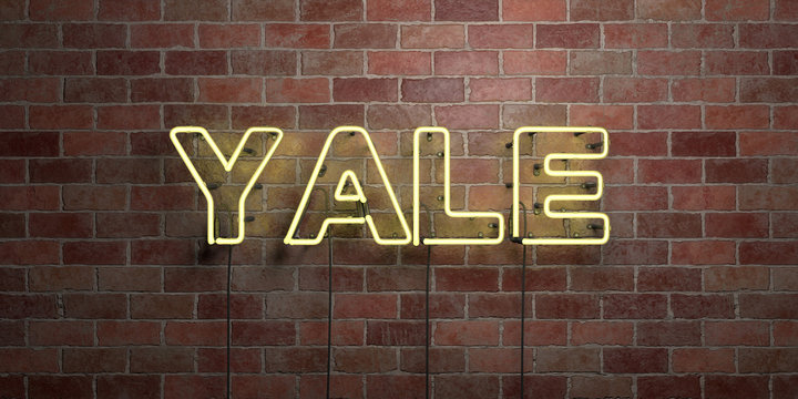 YALE - fluorescent Neon tube Sign on brickwork - Front view - 3D rendered royalty free stock picture. Can be used for online banner ads and direct mailers..