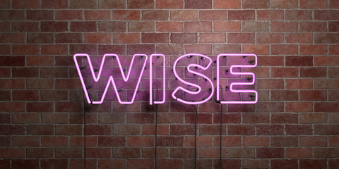 WISE - fluorescent Neon tube Sign on brickwork - Front view - 3D rendered royalty free stock picture. Can be used for online banner ads and direct mailers.. Wall mural