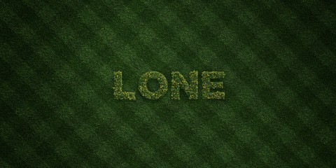 LONE - fresh Grass letters with flowers and dandelions - 3D rendered royalty free stock image. Can be used for online banner ads and direct mailers..