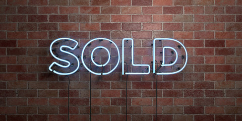 SOLD - fluorescent Neon tube Sign on brickwork - Front view - 3D rendered royalty free stock picture. Can be used for online banner ads and direct mailers..