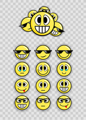 A set of emoticons 2017. Vector Graphics.