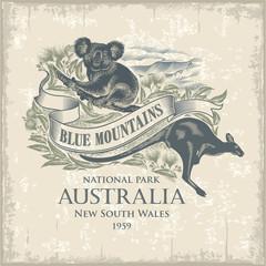 Коала, Кенгуру, национальный парк Голубые Горы, Австралия, имитация гравюры, винтаж, иллюстрация, вектор