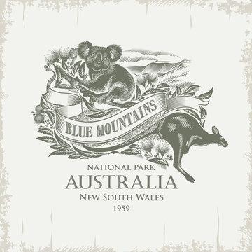 Коала, Кенгуру, национальный парк Голубые Горы, Австралия, имитация гравюры, винтаж, сепия, иллюстрация, вектор