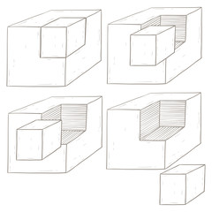 Geometric figures. Cube shapes. Hand drawn sketch