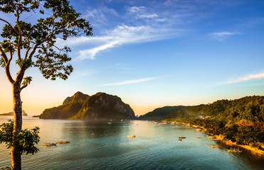 Scenic view of the bay of El Nido Town in Palawan from a viewpoint