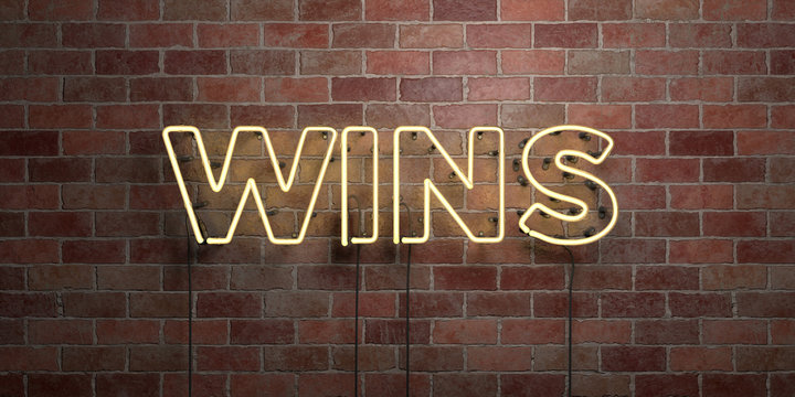 WINS - fluorescent Neon tube Sign on brickwork - Front view - 3D rendered royalty free stock picture. Can be used for online banner ads and direct mailers..