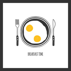 Breakfast plate with scrambled eggs, omelet. Breakfast icon, template for banner, flyer, leaflet, poster, card, menu design. Vector illustration, isolated, on white background. Top view