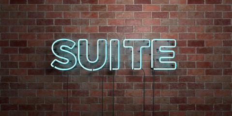 SUITE - fluorescent Neon tube Sign on brickwork - Front view - 3D rendered royalty free stock picture. Can be used for online banner ads and direct mailers..