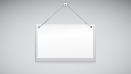 Sign board hanging on the white wall. Vector illustration. Sign with place for your information for shop or add.