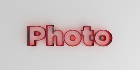 Photo - Red glass text on white background - 3D rendered royalty free stock image.