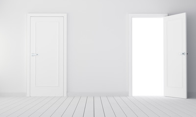 Two doors in a empty room