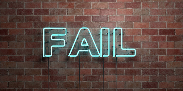 FAIL - fluorescent Neon tube Sign on brickwork - Front view - 3D rendered royalty free stock picture. Can be used for online banner ads and direct mailers..