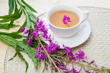 tea from fireweed in glass mug