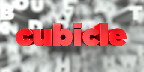 cubicle -  Red text on typography background - 3D rendered royalty free stock image. This image can be used for an online website banner ad or a print postcard.