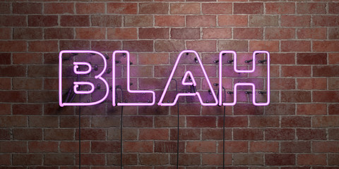 BLAH - fluorescent Neon tube Sign on brickwork - Front view - 3D rendered royalty free stock picture. Can be used for online banner ads and direct mailers..