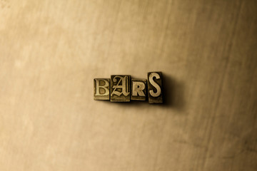 BARS - close-up of grungy vintage typeset word on metal backdrop. Royalty free stock illustration.  Can be used for online banner ads and direct mail.