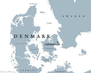 Denmark political map with capital Copenhagen and neighbor countries. Kingdom, Scandinavian and Nordic country in Europe. Gray illustration with English labeling on white background. Vector.