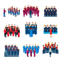 Choir Singing Ensemble Flat Icons Collection