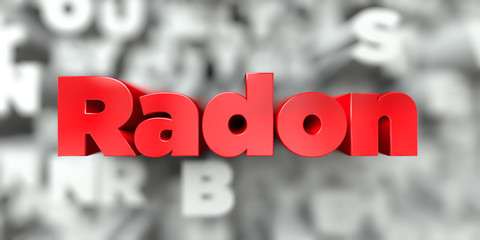 Radon -  Red text on typography background - 3D rendered royalty free stock image. This image can be used for an online website banner ad or a print postcard.