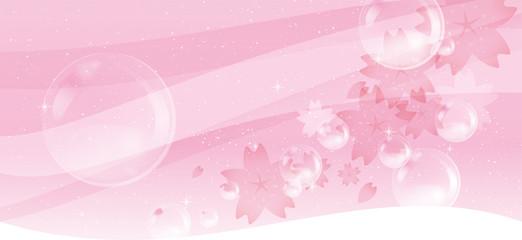 桜吹雪とシャボン玉のイメージイラスト