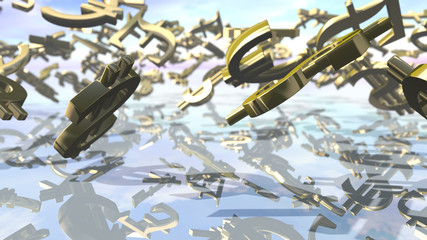 Shiny leading money signs falling down. 3D rendering