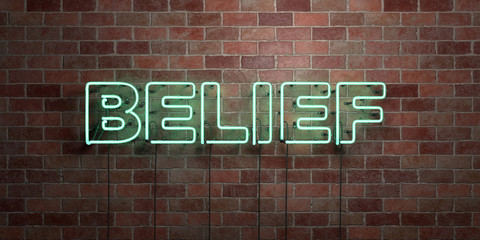 BELIEF - fluorescent Neon tube Sign on brickwork - Front view - 3D rendered royalty free stock picture. Can be used for online banner ads and direct mailers..