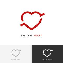 Broken heart logo -  arrow or bullet in the love symbol. Divorce or breakup vector icon.