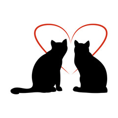 Two cats and heart