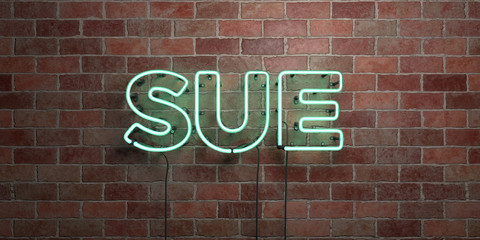 SUE - fluorescent Neon tube Sign on brickwork - Front view - 3D rendered royalty free stock picture. Can be used for online banner ads and direct mailers..