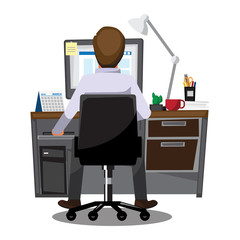 Business People Office workers sitting at computers ,Vector illustration cartoon character.